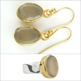 GOLDEN GREY ONYX OVAL
